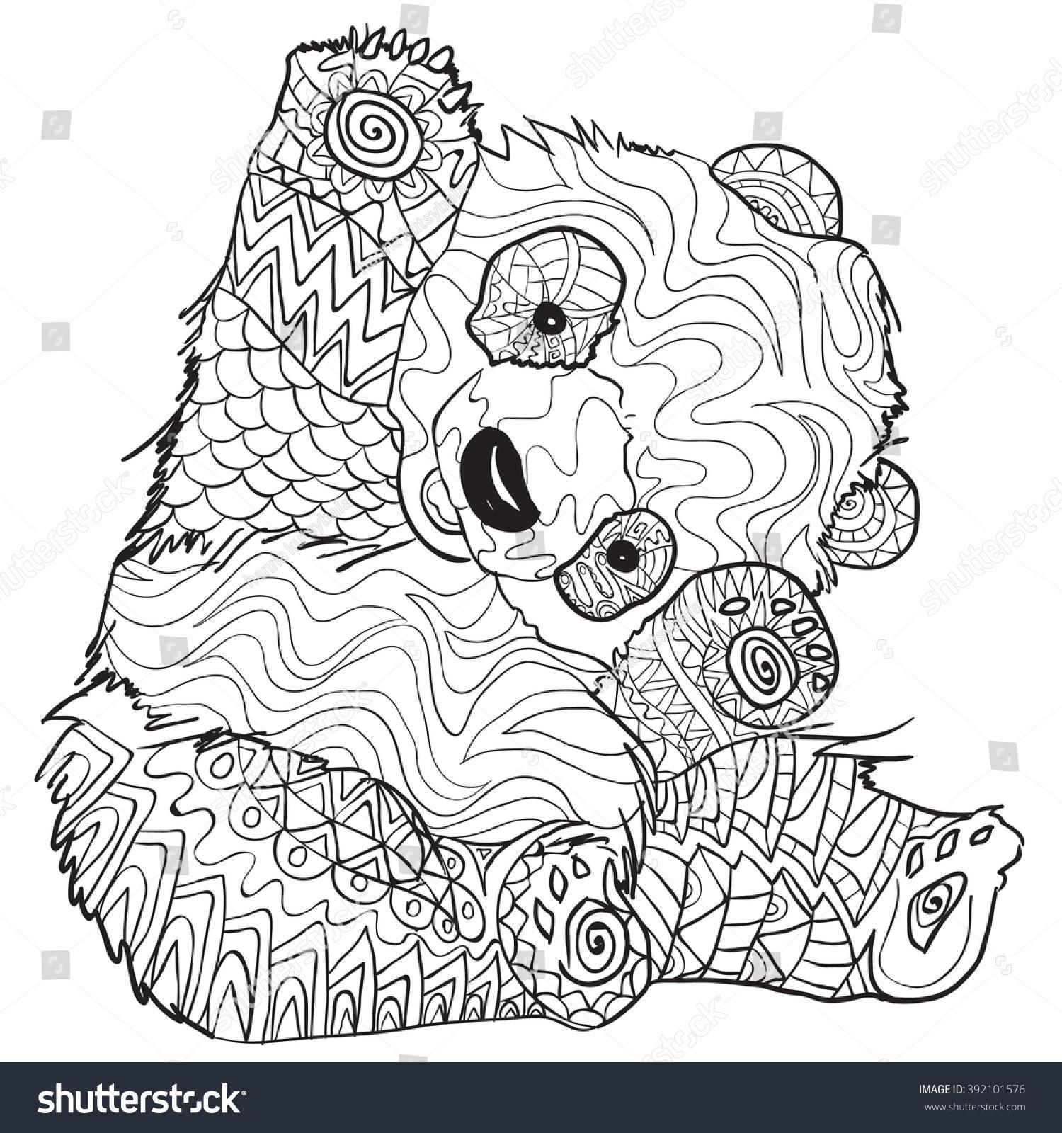 Hand Drawn Coloring Pages Panda Illustration Stock Vector
