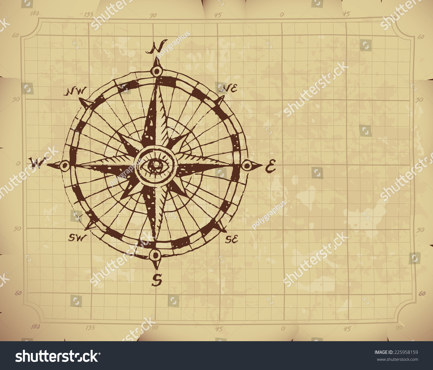 Hand Drawn Compass Rose On Old Stock Vector