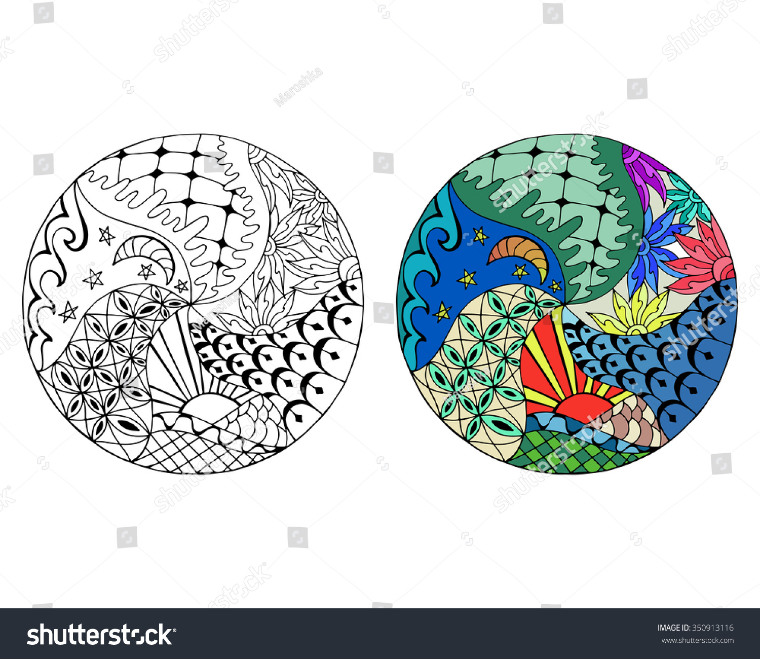 Hand Drawn Day And Night Circle Mandalas For Anti Stress Coloring Page Pattern For Coloring