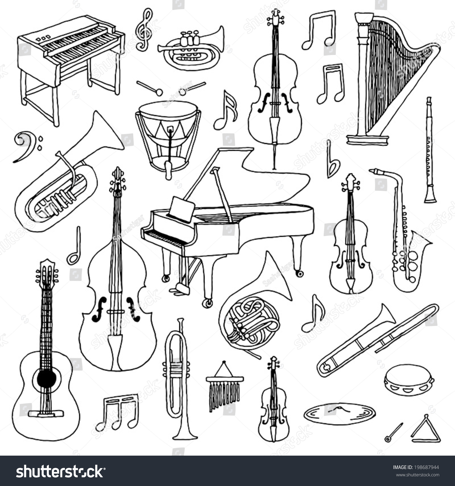 Hand Drawn Doodle Musical Instruments Classical Stock