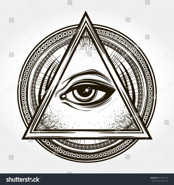 Handdrawn Eye Providence All Seeing Eye Varastovektori