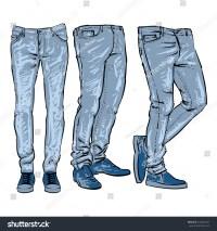 Hand Drawn Fashion Design Mens Jeans Stock Vector ...