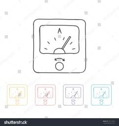 hand drawn icon ammeter vector illustration [ 1500 x 1600 Pixel ]