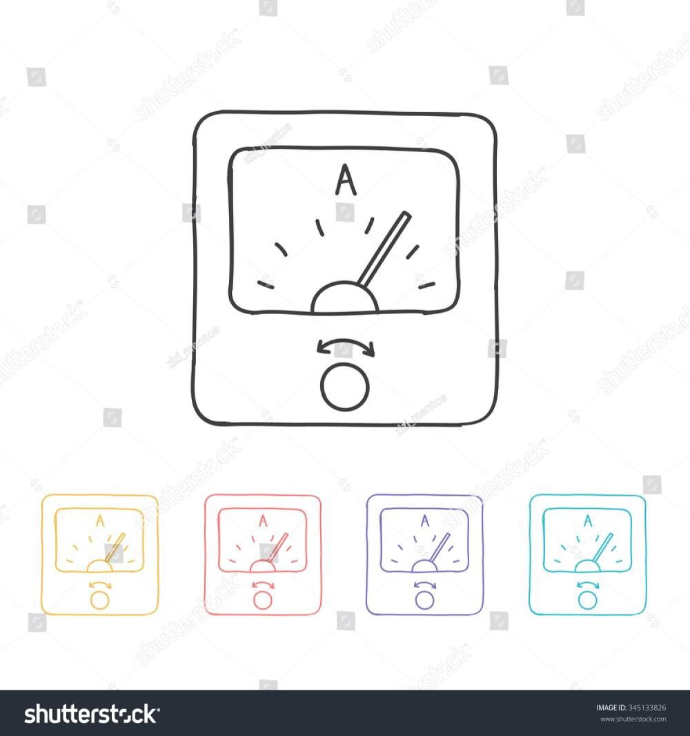 medium resolution of hand drawn icon ammeter vector illustration