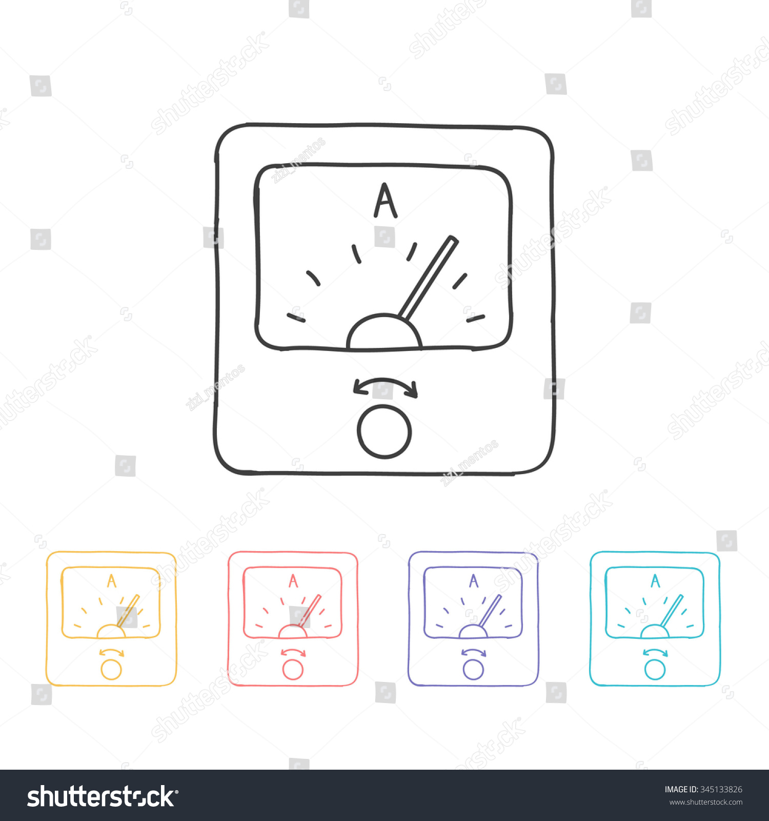 hight resolution of hand drawn icon ammeter vector illustration