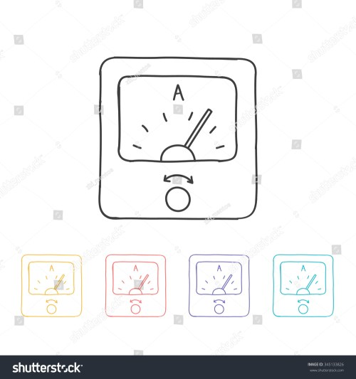small resolution of hand drawn icon ammeter vector illustration
