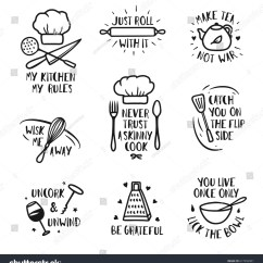 Vintage Posters For Kitchen Country Decor Hand Drawn Set Quotes Stock Vector Royalty Free And Funny Sayings About Cooking Food Wall Art Prints Collection Kitchenware Monochrome
