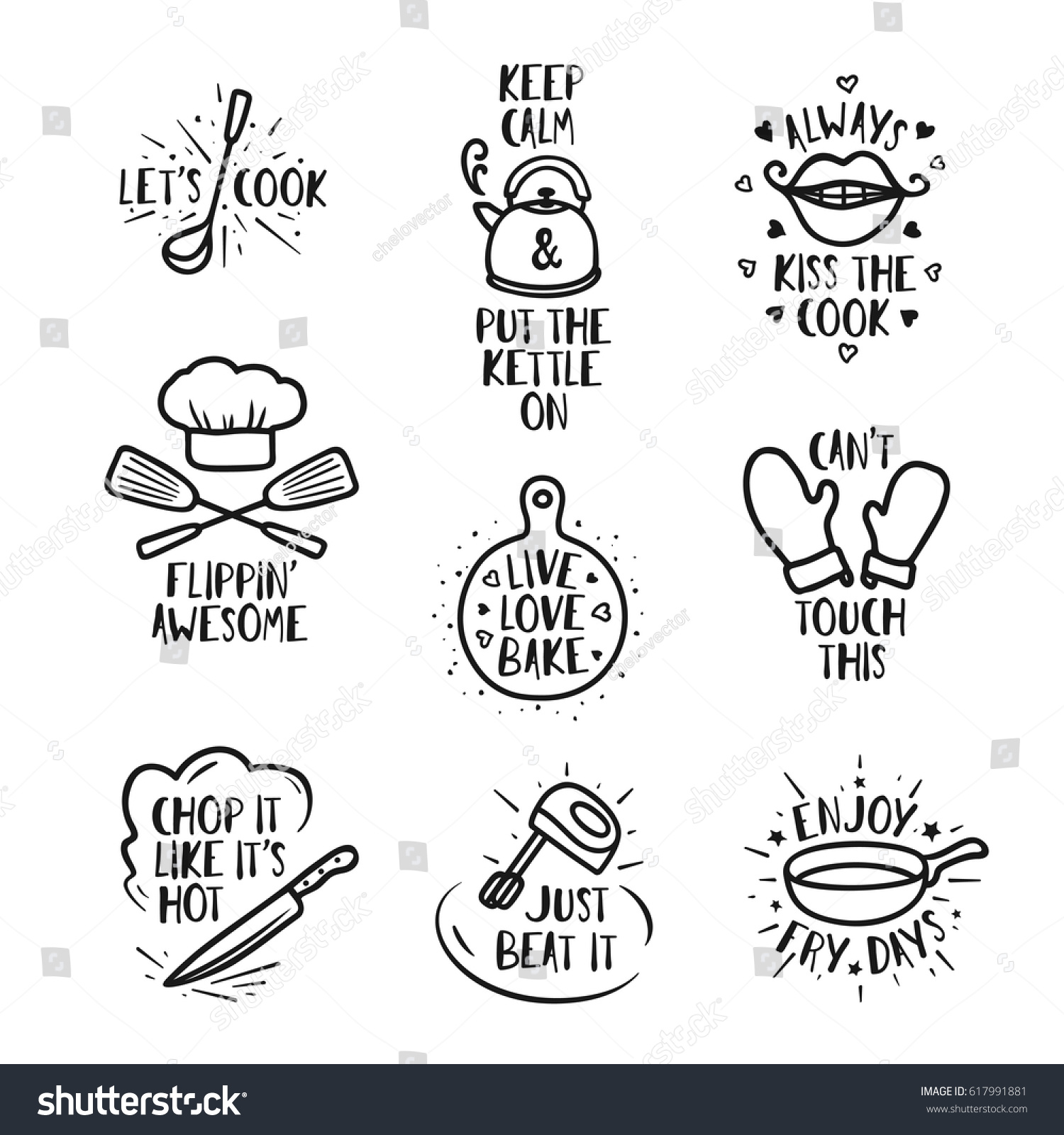kitchen prints lowes counters hand drawn quotes set phrases stock vector royalty free and funny sayings about cooking food wall decor