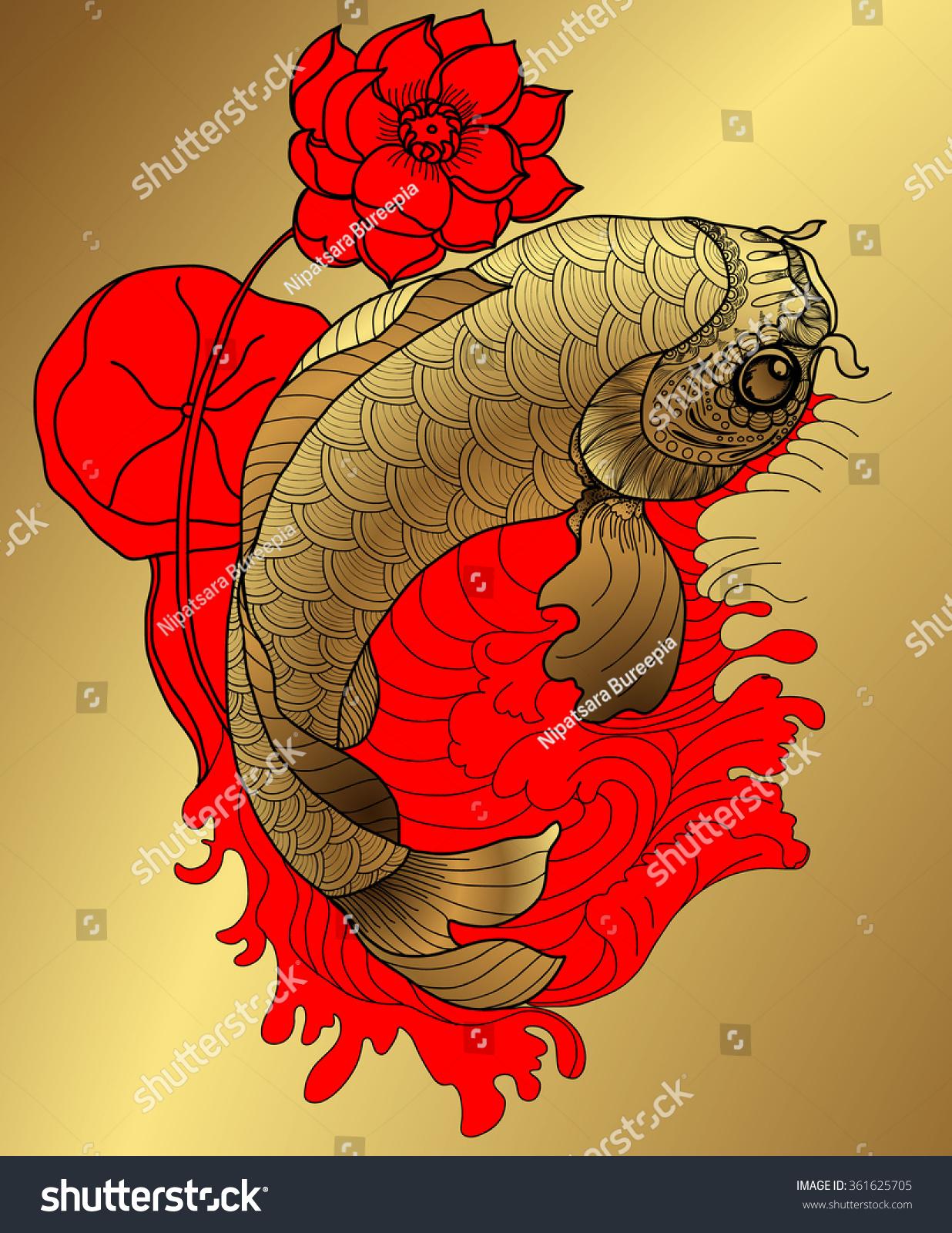 Koi Fish Circle : circle, Drawn, Circlegold, Japanese, Stock, Vector, (Royalty, Free), 361625705