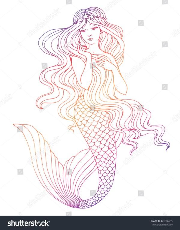 Hand Drawn Mermaid White Background Stock Vector