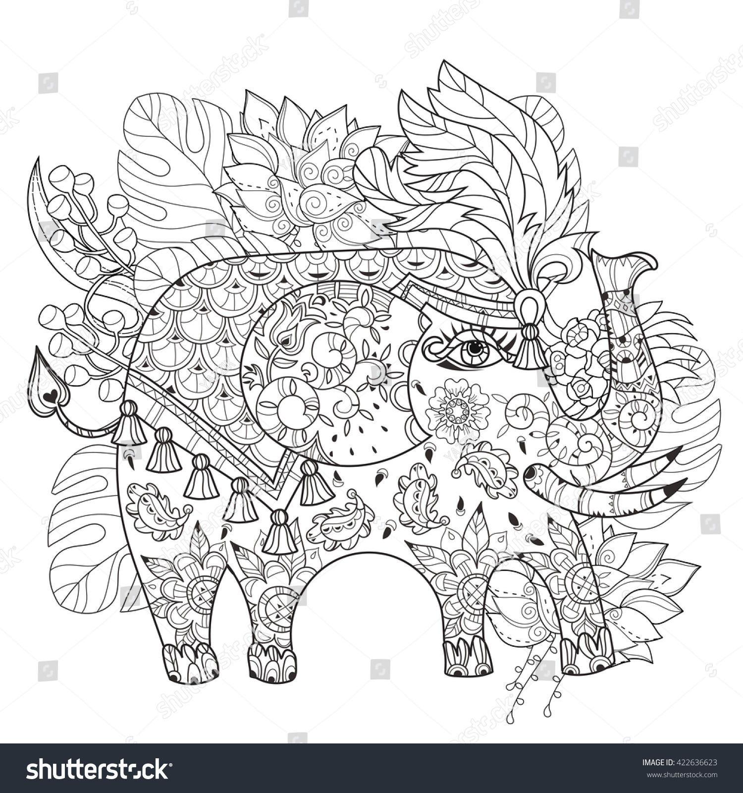 Hand Drawn Outline Circus Elephant Doodle Stock Vector