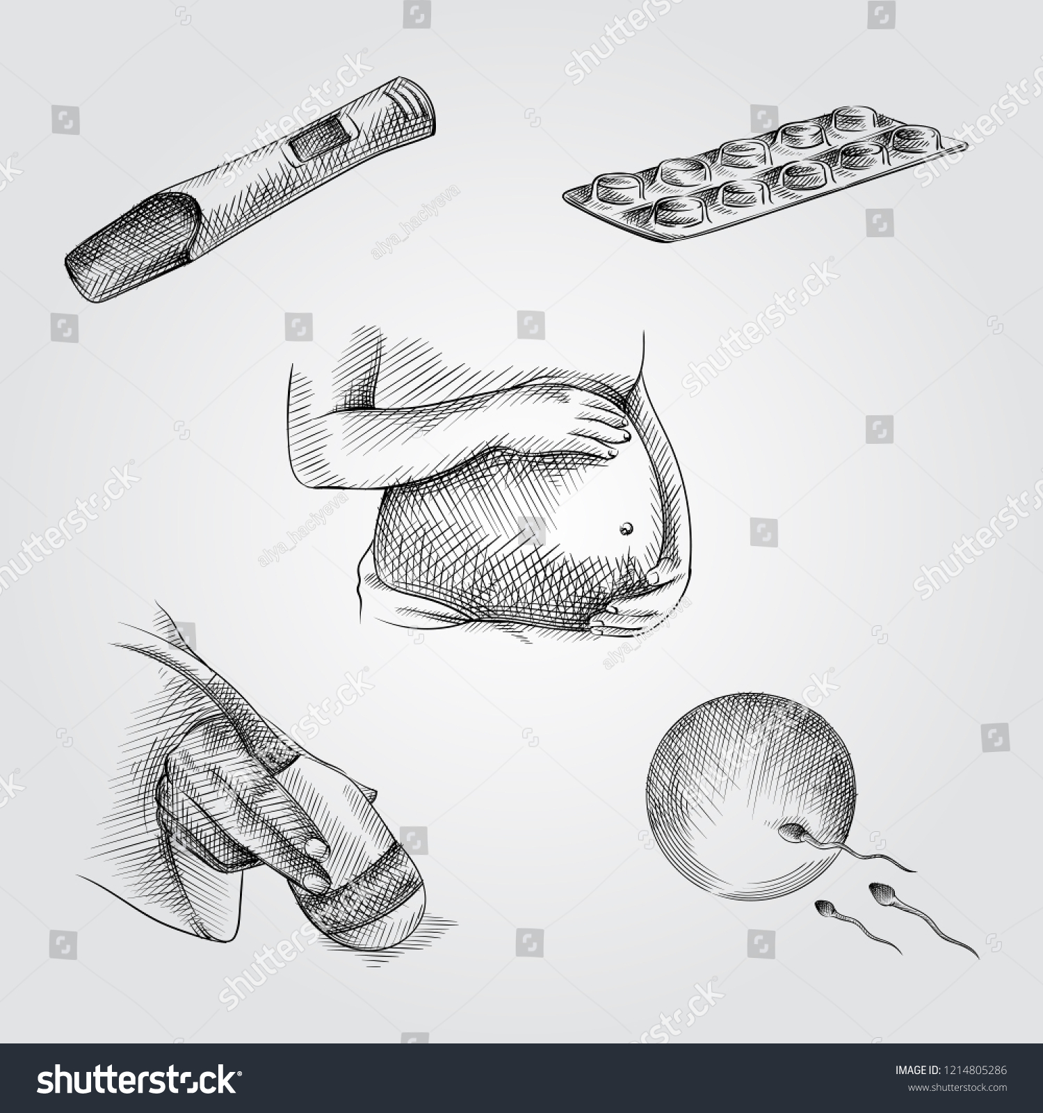 hight resolution of hand drawn pregnancy elements sketches set collection of pregnant woman belly pregnancy test