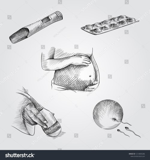 small resolution of hand drawn pregnancy elements sketches set collection of pregnant woman belly pregnancy test