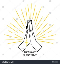 hand drawn rosary praying vector poster isolated on white background christian church praying hands with [ 1500 x 1600 Pixel ]