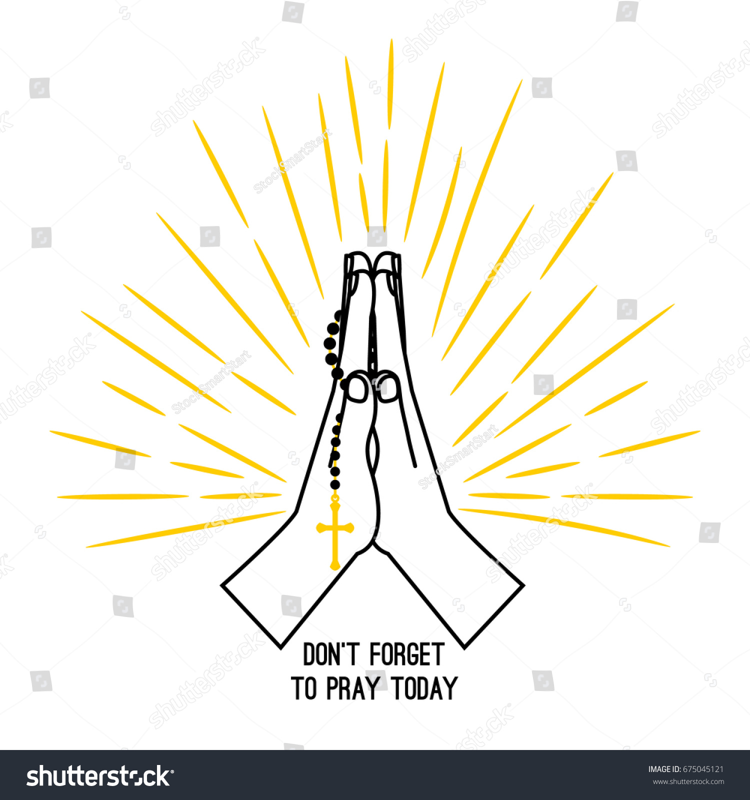 hight resolution of hand drawn rosary praying vector poster isolated on white background christian church praying hands with