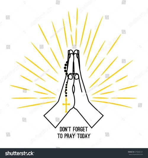 small resolution of hand drawn rosary praying vector poster isolated on white background christian church praying hands with