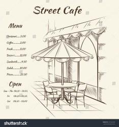 cafe restaurant sketch street menu background exterior drawn vector hand architecture shutterstock illustration illustrations