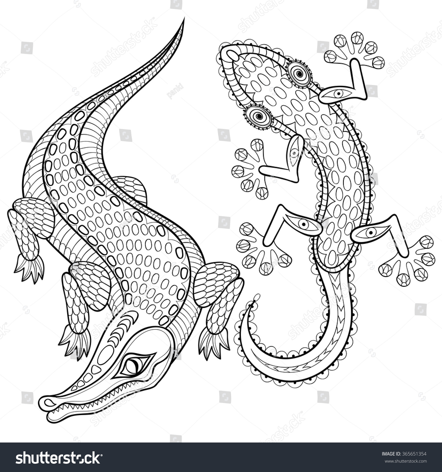 Lizard Adult Coloring Page