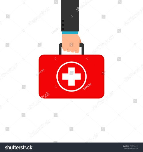 small resolution of hand holding first aid box clipart image isolated on white background