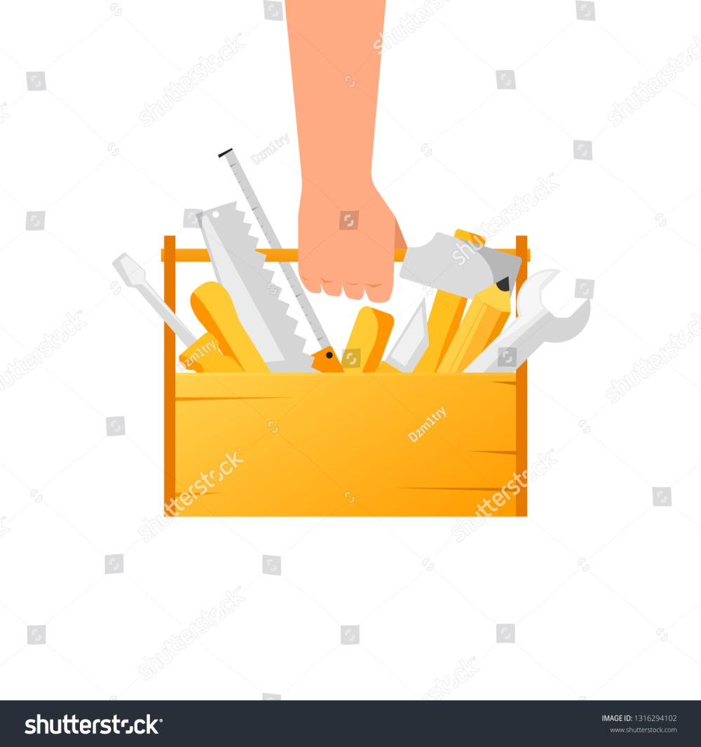 medium resolution of hand holding toolbox with tools clipart image isolated on white background