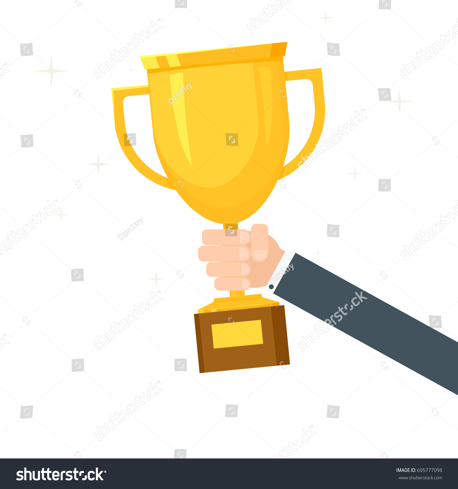 hight resolution of hand holding trophy clipart image isolated on white background