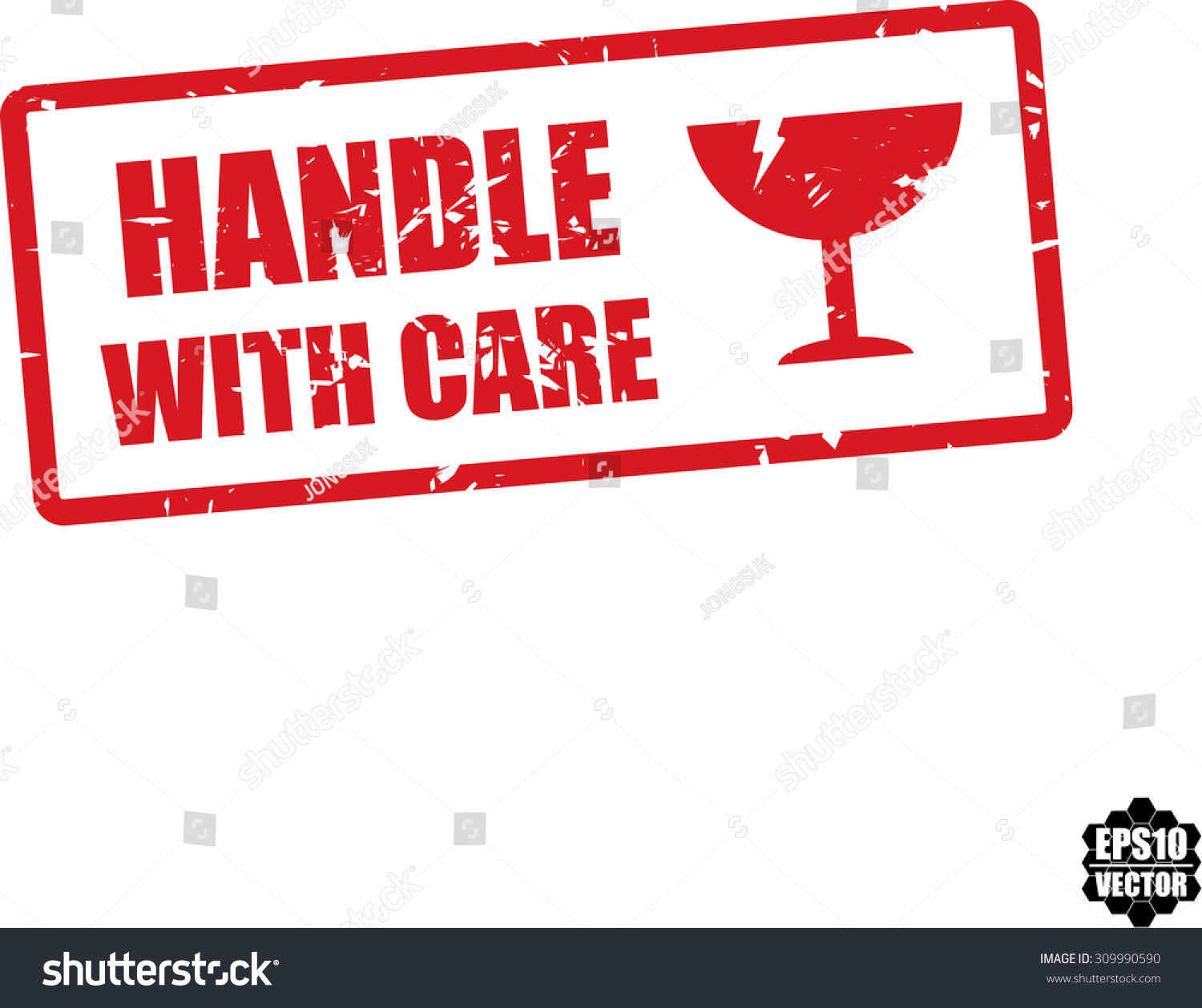 Handle With Care Rubber Stamp On White Background With Red Glass Icon. Vector Illustration. - 309990590 : Shutterstock