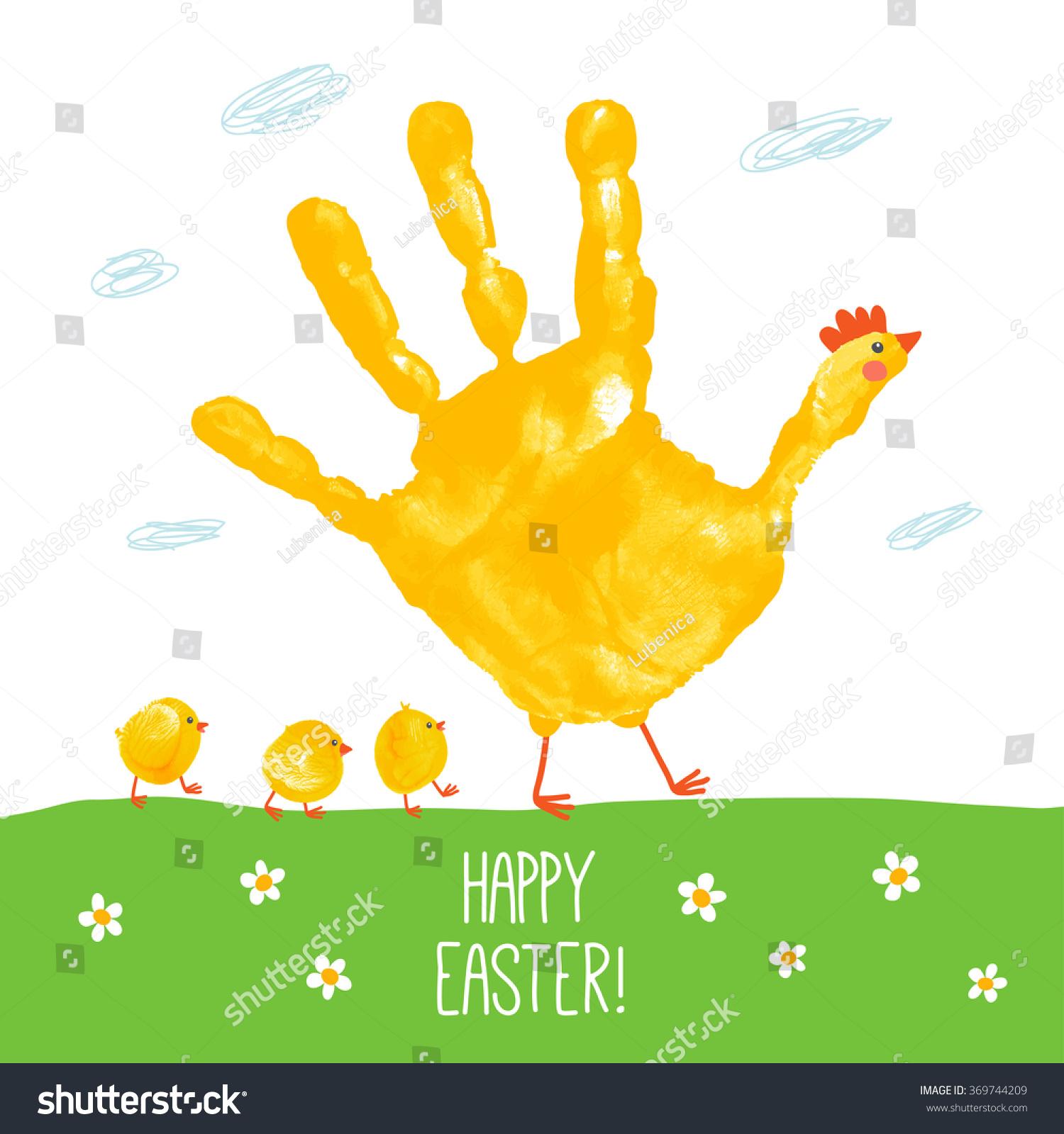 Handprint Mother Hen Fingerprint Baby Chicks Stock Vector