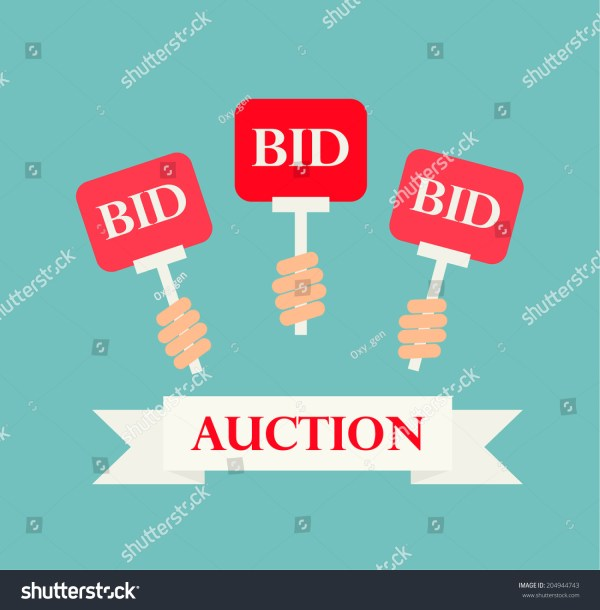 Hands Holding Auction Paddles Vector Illustration Stock