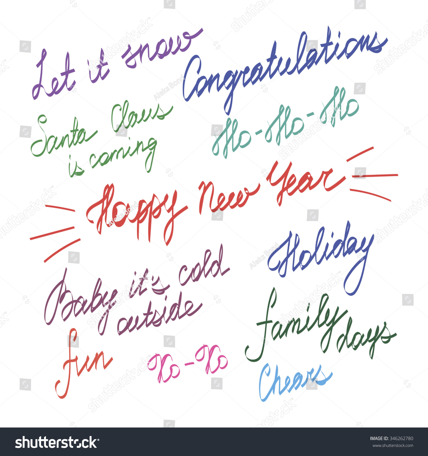 Handwriting Lettering Happy New Year Merry Stock Vector