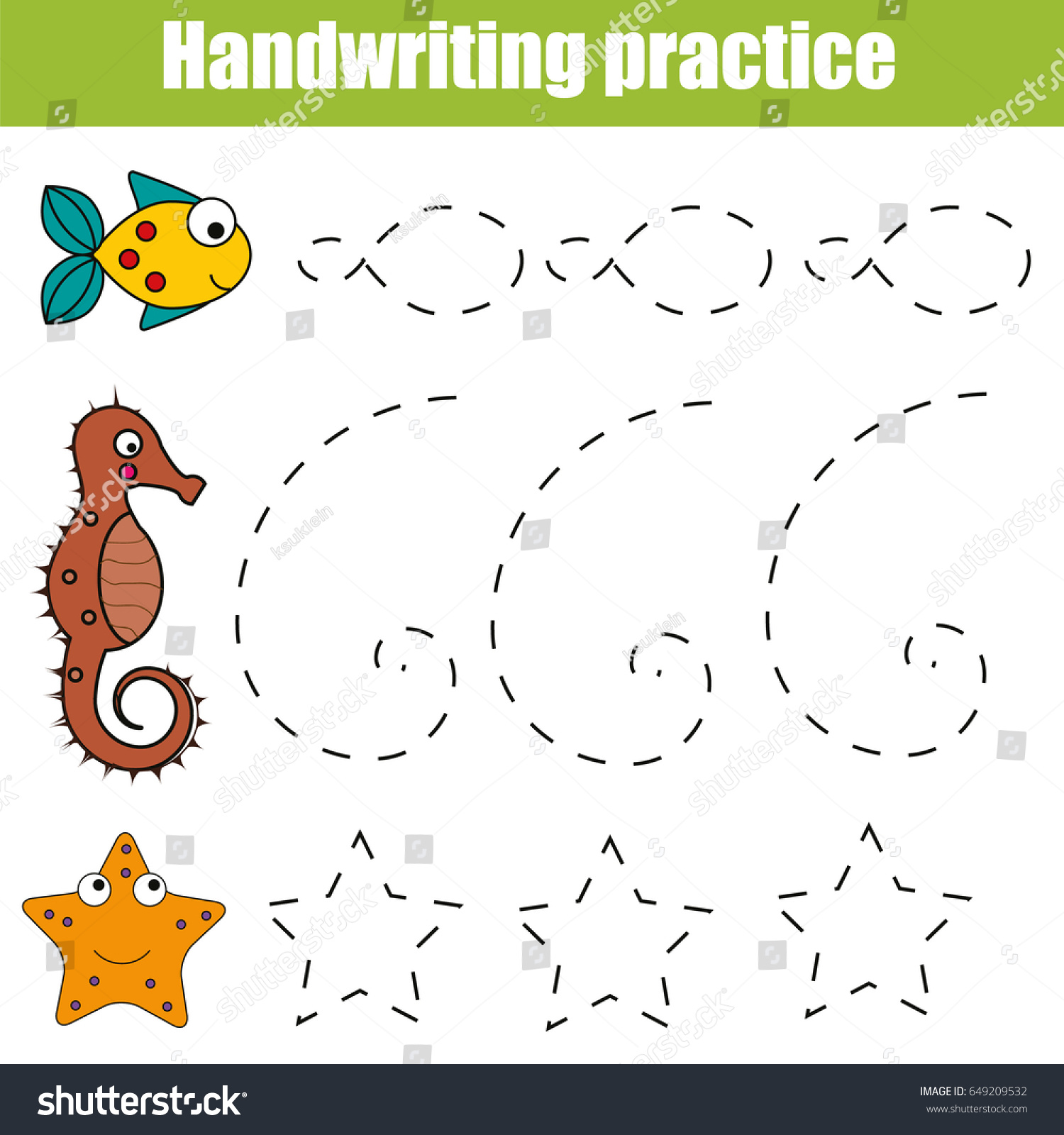 Handwriting Practice Sheet Educational Children Game Stock Vector