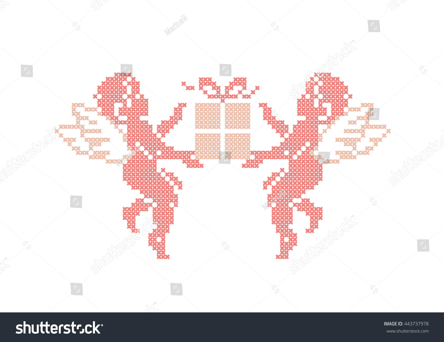 Happy Birthday! Cute Cupids With Gift Box. Cupid Angels. Cross Stitch. Vector Element Embroidery. - 443737978 : Shutterstock