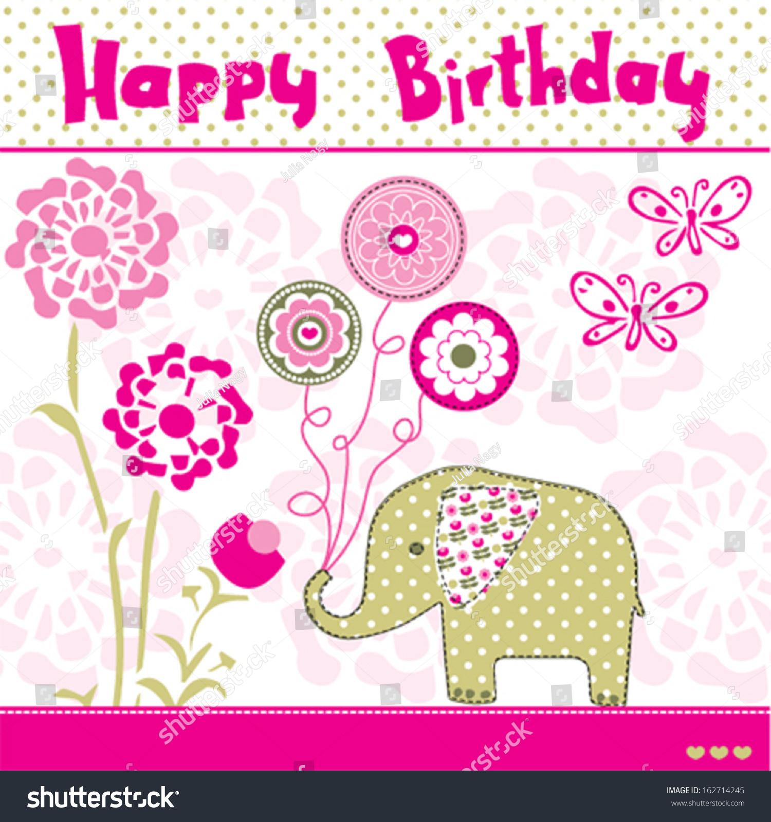 Happy Birthday Elephant Vector Illustration Stock Vector 162714245 Shutterstock
