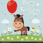 Happy Birthday Funny Horse Red Balloon Stock Vector Royalty Free 562453399