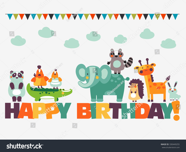 Happy Birthday Lovely Vector Card Funny Stock Vector
