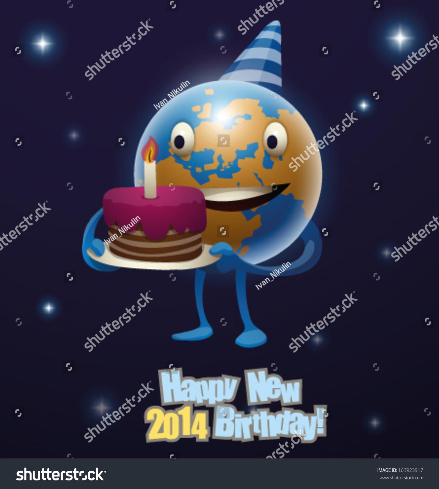 Happy Birthday New Year The Earth Stock Vector