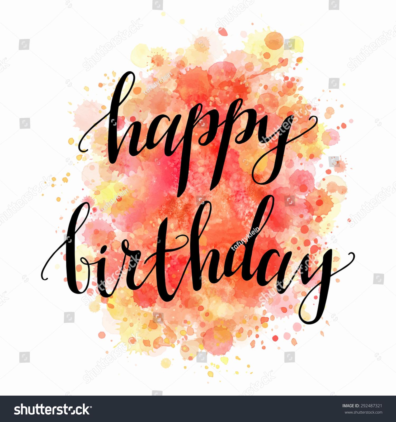 Happy Birthday Watercolour Background Vector Handwritten