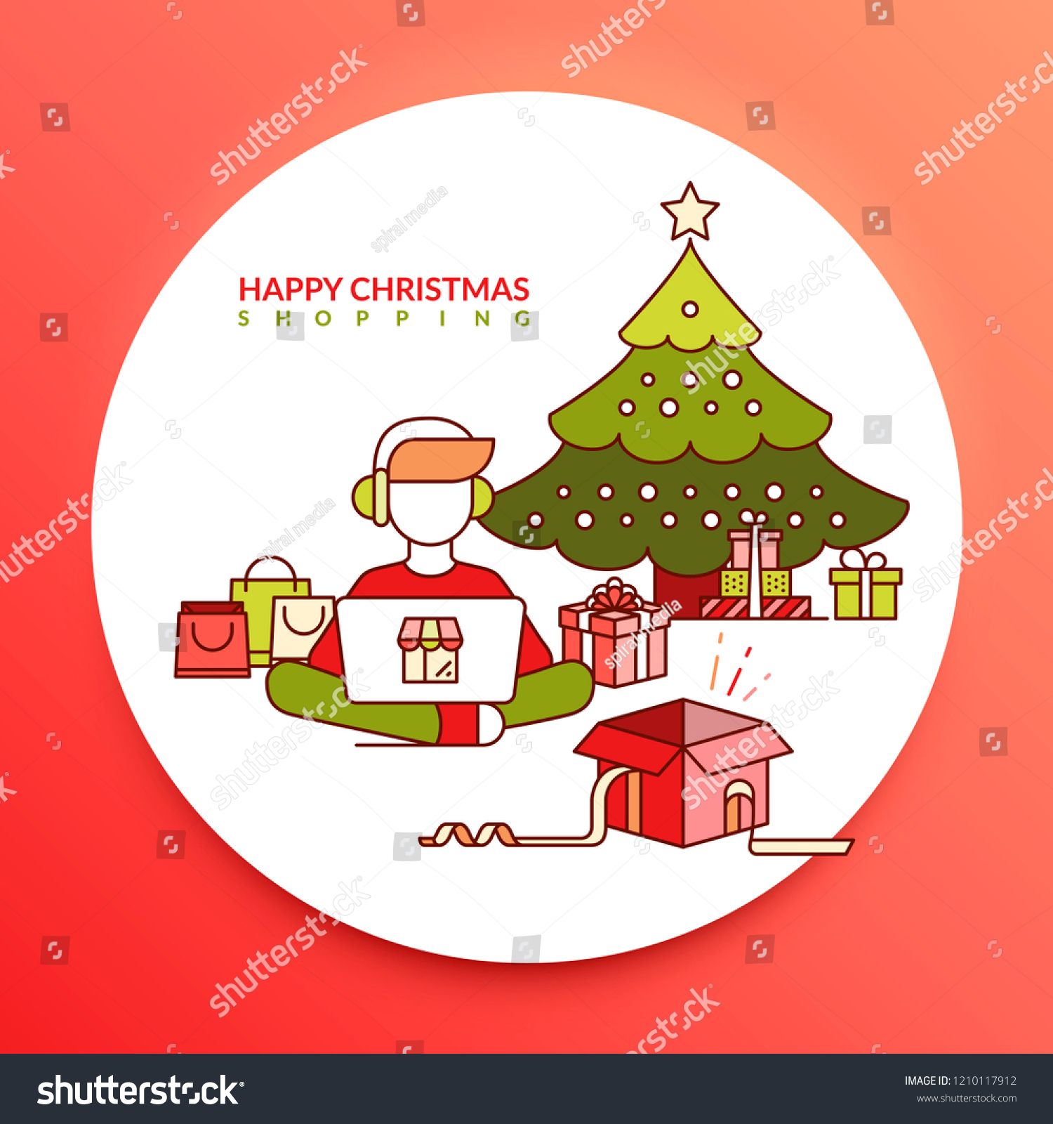Happy Christmas Shopping Boy Shopping Online Stock Vector Royalty Free 1210117912