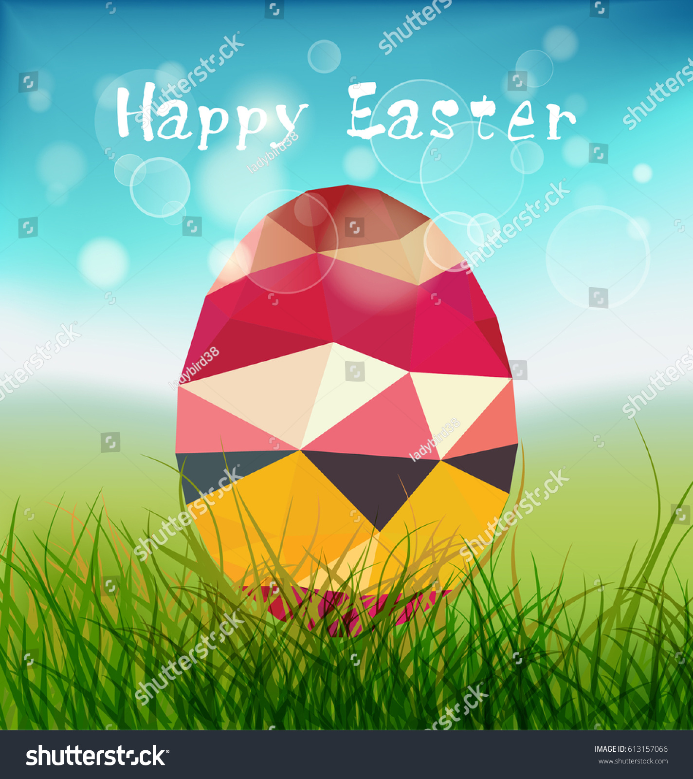 Happy Easter Flyer Or Banner Template With Modern Low Polygonal Eggs. Good  For Flyer,