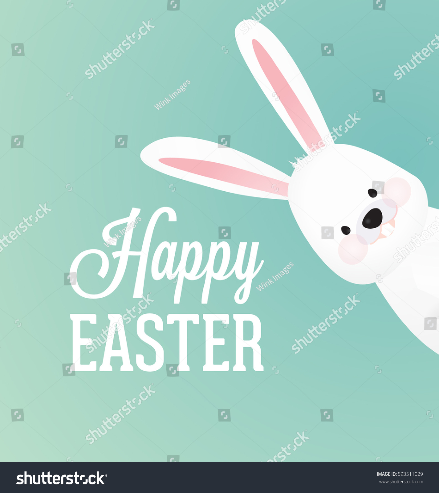 Happy Easter Vector Design With Cute Rabbit Character - Advertising Poster  Or Flyer Template With A