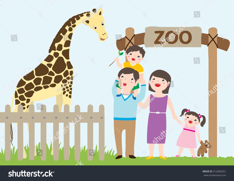 hight resolution of happy family visiting zoo giraffe