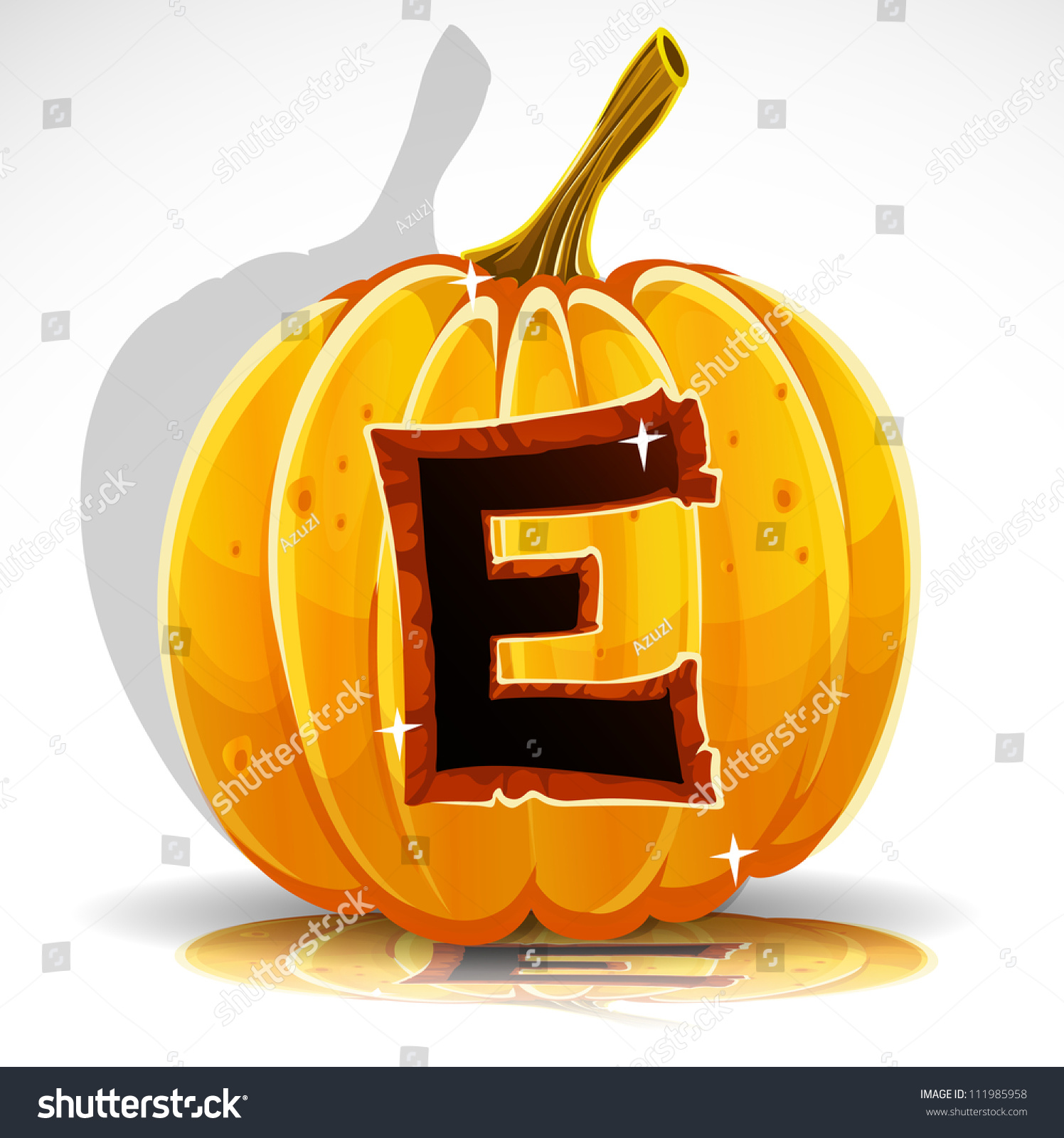 Happy Halloween Font Cut Out Pumpkin Letter E Stock Vector Illustration Shutterstock
