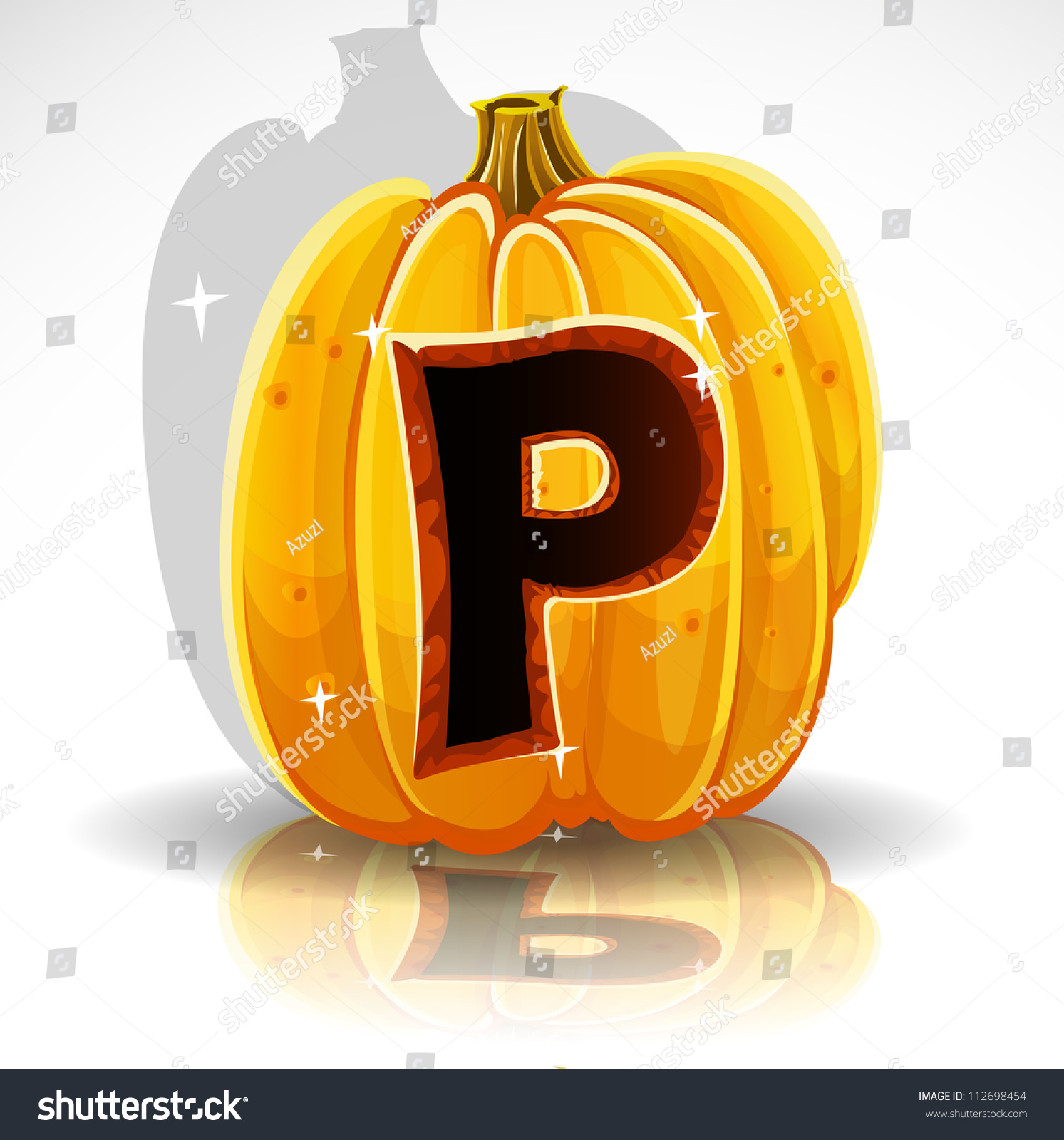 Happy Halloween Font Cut Out Pumpkin Letter P Stock Vector