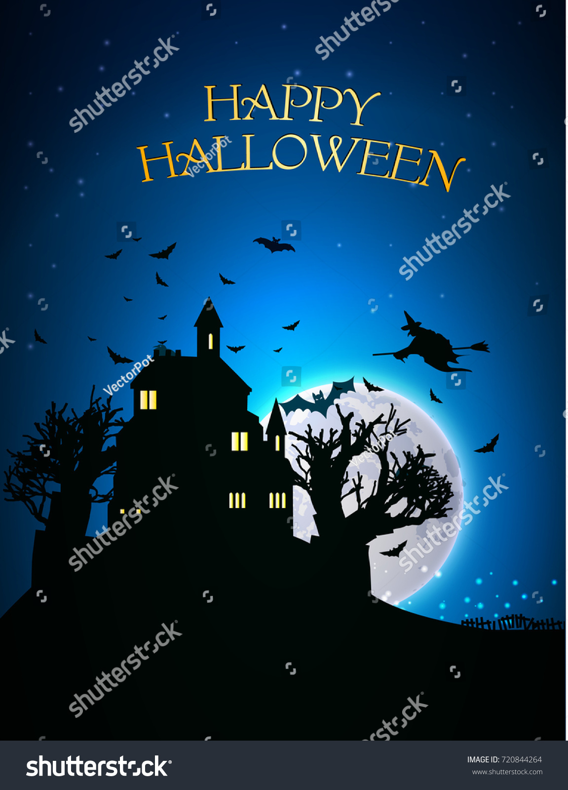 Happy Halloween Template With Scary House Trees Bats Flying Witch  Silhouettes On Blue Moon Background Vector