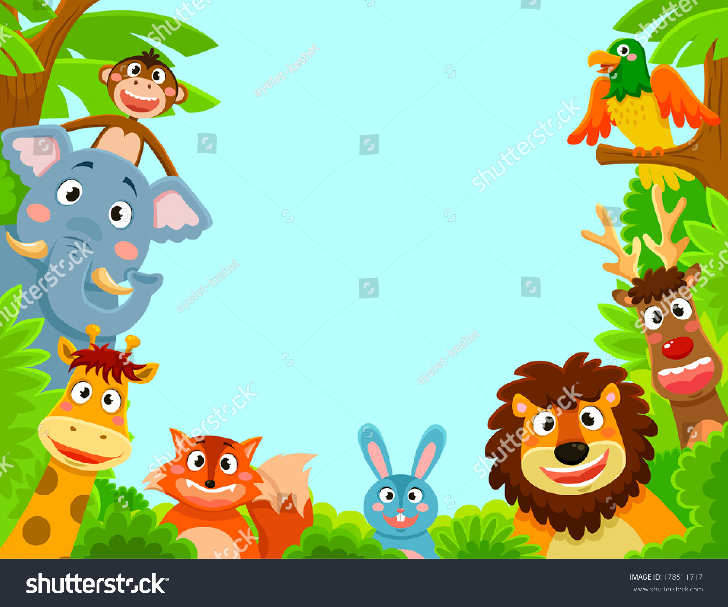 Happy Jungle Animals Creating Framed Background Stock