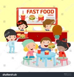 eating hamburger fries food restaurant fast inside french vector ordering happy illustration atmosphere shutterstock illustrations footage vectors music editorial