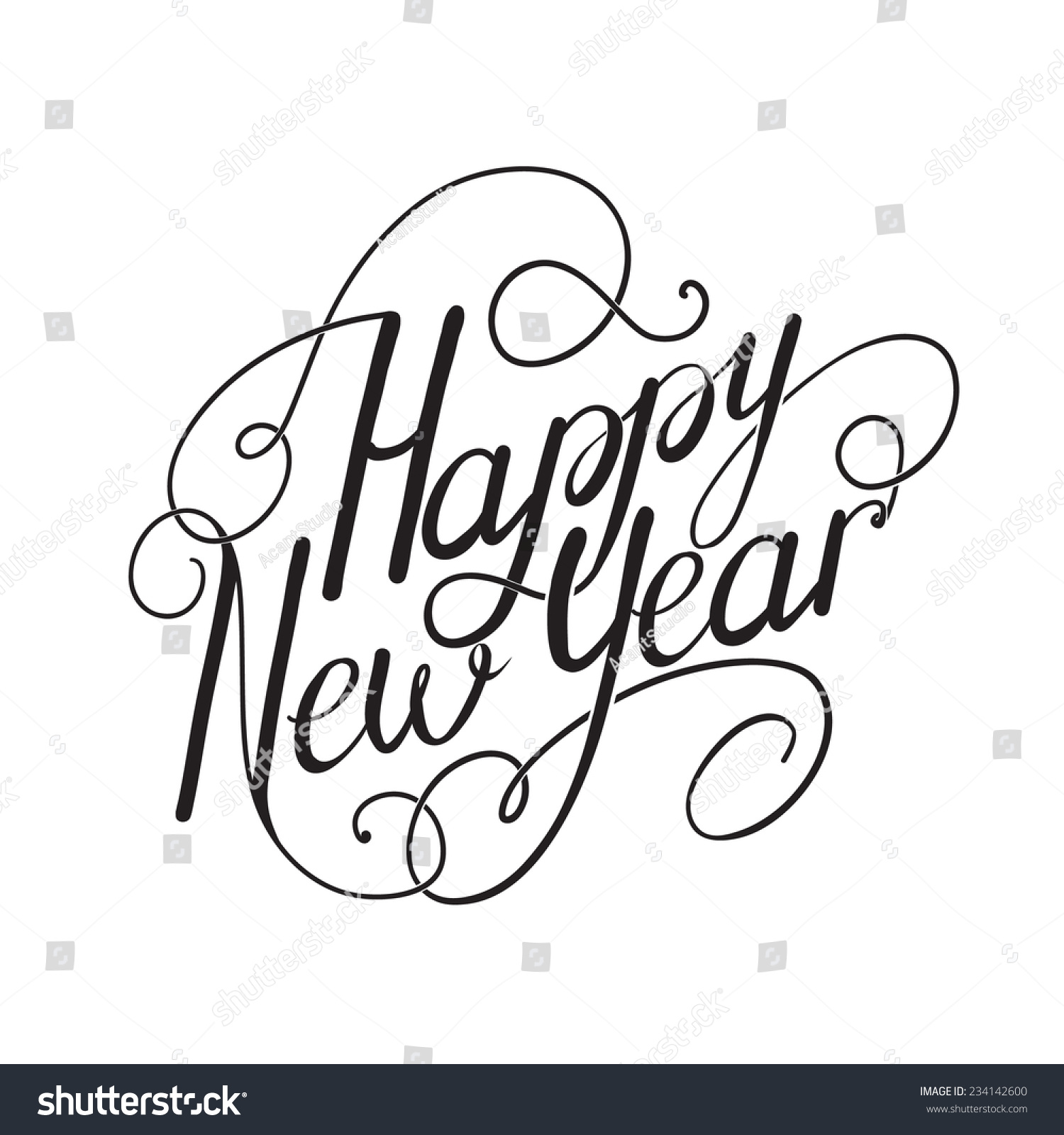 Happy New Year Calligraphy Embellishments Set Stock Vector