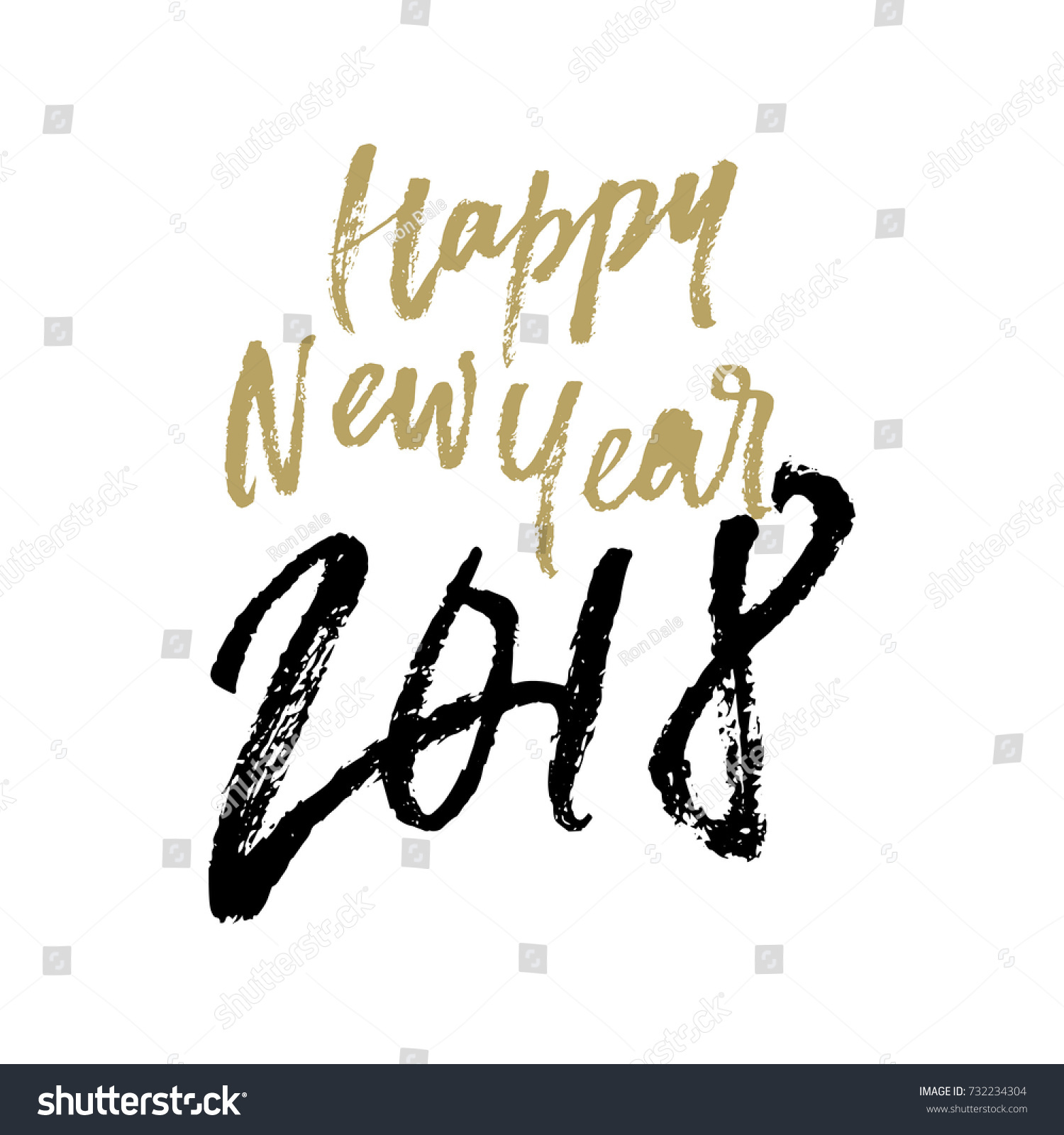 Happy New Year 2018 Calligraphy Hand Stock Vector