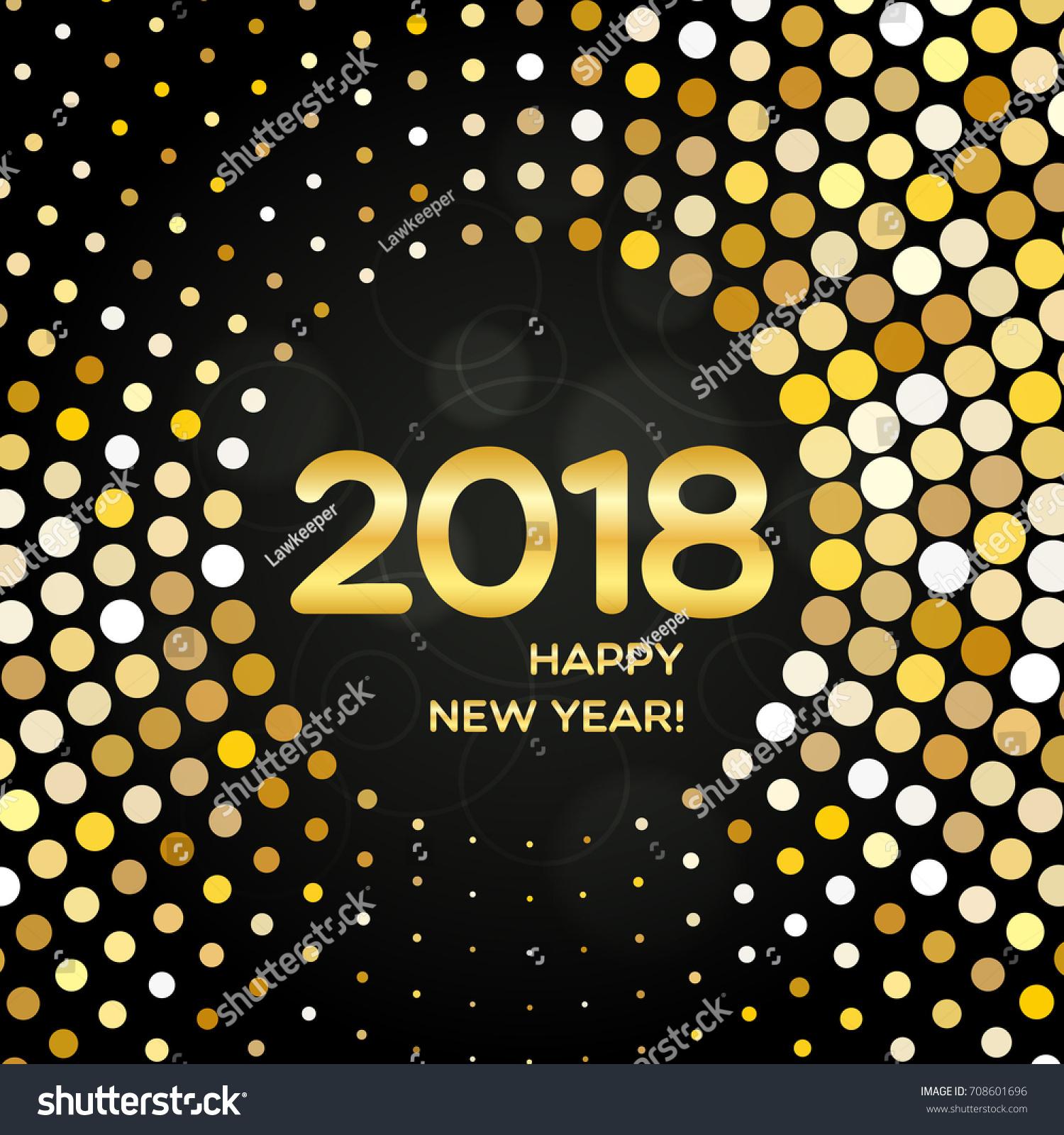 Happy New Year Round Golden Stock Vector