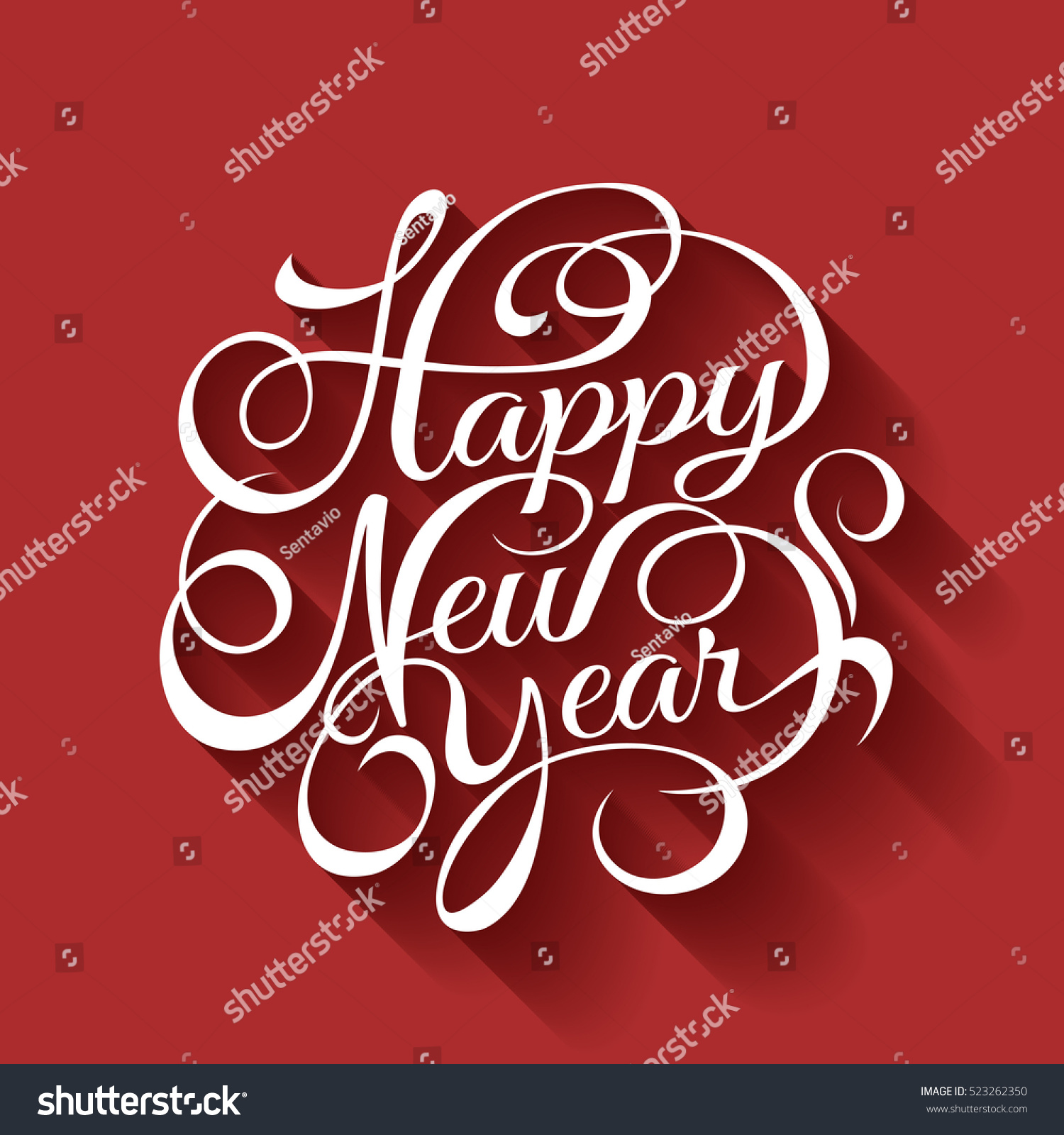 Happy New Year Vector Text Calligraphic Stock Vector