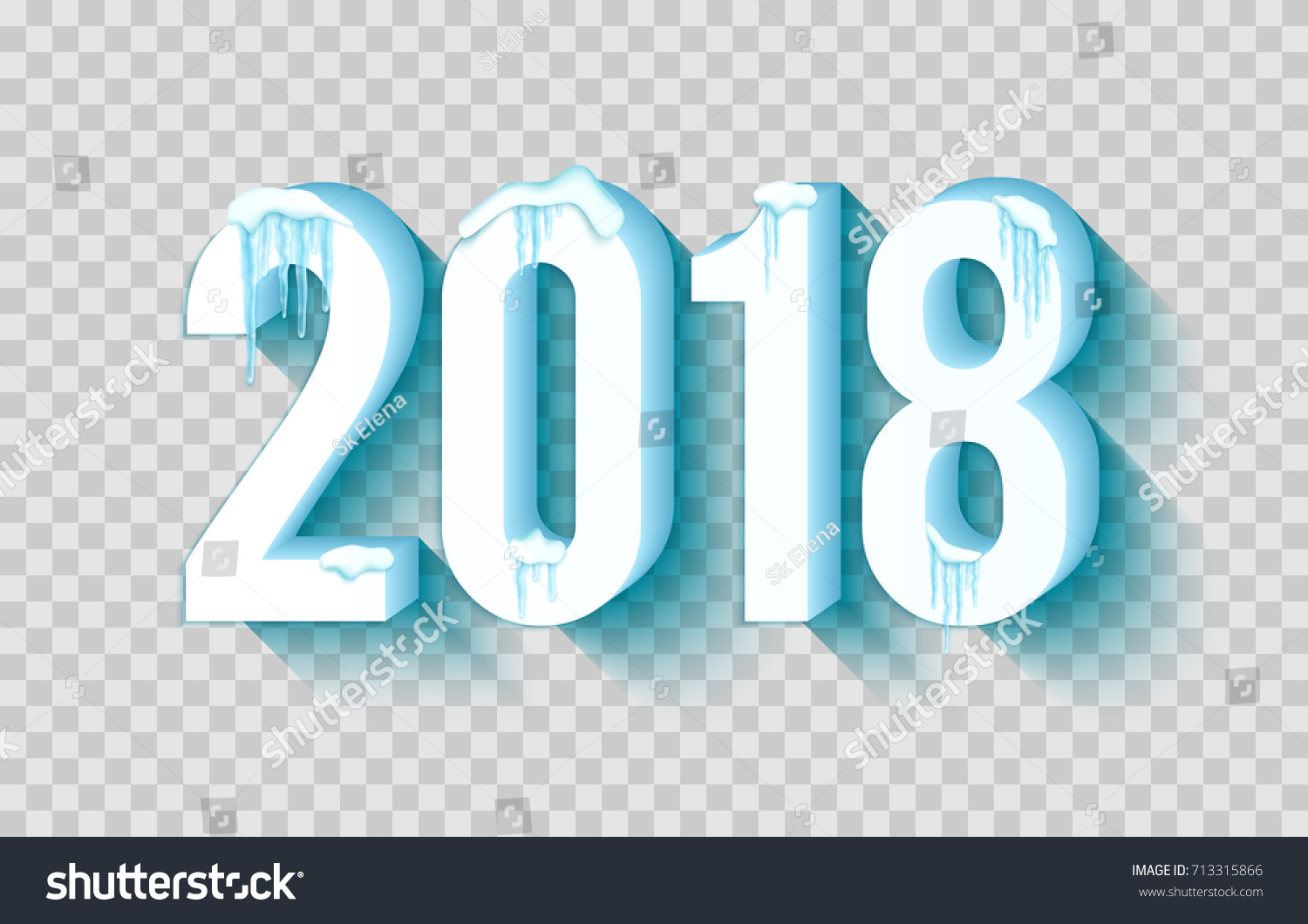 Happy New Year 2018 Frosty Snow Stock Vector 713315866